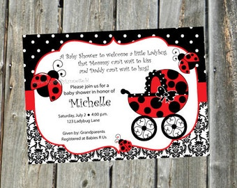 Ladybug Damask Baby Shower Party Invitation -  YOU PRINT