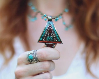 Tibet Pendant Necklace, Turquoise Necklace, Bohemian Jewelry, Boho Necklace