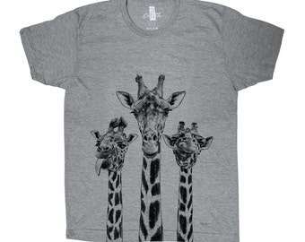 Giraffe T-shirt Men Graphic Tee Custom Hand Screen Print Tri-Blend Short Sleeve