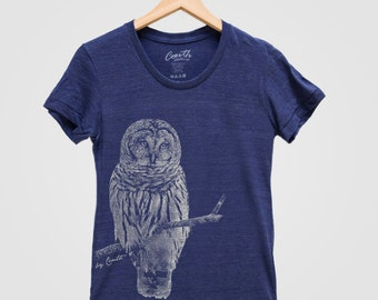 Women Owl Tshirt Custom Hand Screen Print Tri-Blend Short Sleeve Tshirt Available: S , M , L , XL