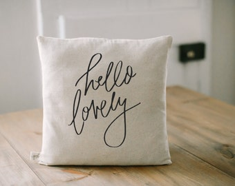 Pillow Cover, Hello Lovely 16 x 16 Calligraphy, home decor, wedding gift, engagement present, housewarming gift, cushion cover, throw pillow