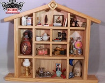 Handmade &assembled mixed media shadow box w/ miniatures, perfume bottle, sewing machine, lamp, teapot and cups, Dollhouse MIniature display