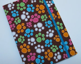 Handmade Journal - Pawprints - Fabric - Lined Pages - Unique
