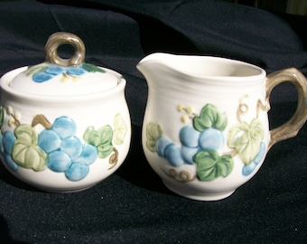 Metlox Sculptured Grape Creamer and Sugar Set