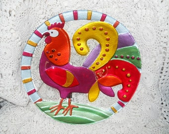 serving dish 11 inches round designed by Lori Seibert for Rooster lovers designed for silvertri