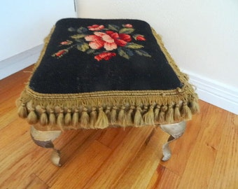 Iron Frame and Legs Needlepoint Footstool 1800s