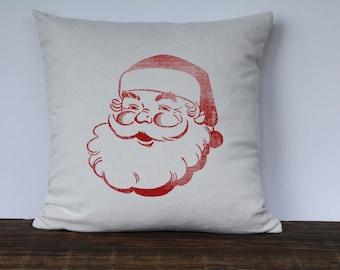 Farmhouse Christmas Pillow Cover, Santa Pillow, Decorative Pillow, Custom Couch Pillow, Vintage Santa Graphic Jolly Santa Pillow RED