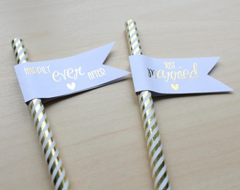 Set of 10 Wedding straw flags/ Flags for paper straws/cupcake toppers/Bridal Celebration/Party/Birthday Celebration in Gold/Silver foils