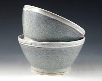 Cereal or Soup Porcelain Bowl - Speckled Blue Glaze