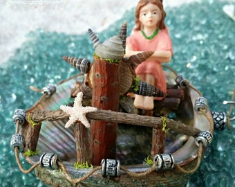 Fairy Garden Boat Miniature Fairy Garden Furniture Accessory