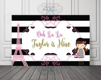 Parisian Vinyl Backdrop or Poster | I love paris Backdrop | Paris birthday Backdrop or Poster | Paris Birthday Backdrop