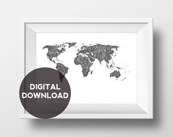 SAVE THE CHILDREN - World Map - Charity- Original Illustration- digital download -