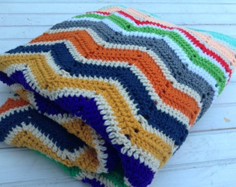 Colorful Vintage Crocheted Chevron Afghan - Blanket- Baby Gift, Living Room Throw (CB062)