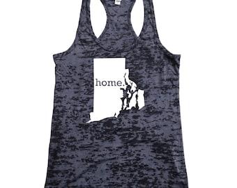 Rhode Island Home Burnout Racerback Tank Top - Women's Workout Tank Top