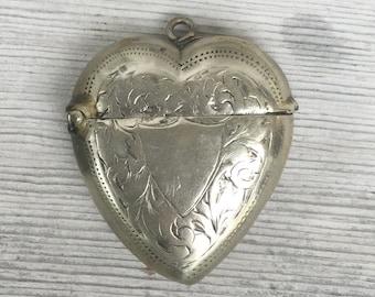 Puffy heart pendant w secret compartment large Victorian silver Vesta Fob etched heart locket, pill box, keepsake 3d Bride jewelry e50 eb