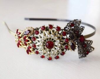 Garnet Headband - Bridal Headband - Red and Gold Headband - Vintage Jewelry Collection Headband - Bridal Bow - Antique Headband - Wedding