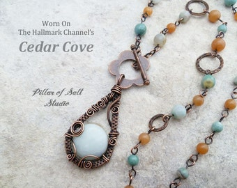 Wire Wrapped pendant necklace As Seen on Cedar Cove / copper jewelry / wire wrapped jewelry handmade / woven wire jewelry / blue green boho