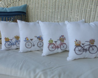 Bike Pillows - Bicycle Pillows - 11x15 accent pillows -  decorative pillow  - sofa pillow - pillows - summer pillows - French country decor