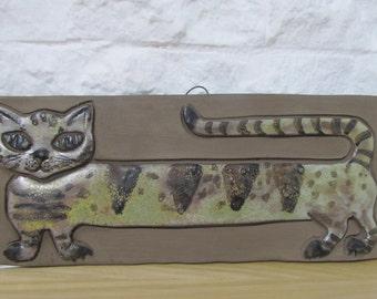 Elbogen Sweden 60's cat ceramic wall plaque Mid-Century Scandinavian