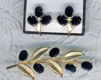 Ronci 12K Gold Filled Black Onyx Brooch & Earrings