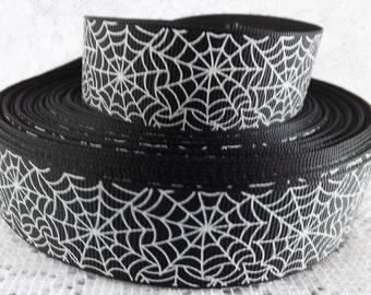 Spider web ribbon 1 inch Halloween ribbon black spider web Halloween spider ribbon