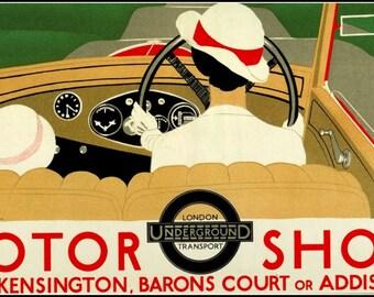 Art Print London Underground Advertising Motor Show West Kensington 1933 Poster print 8 x 10