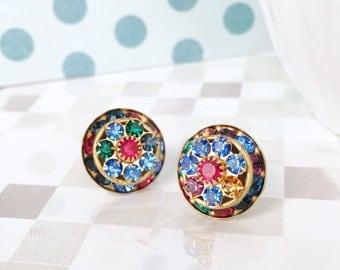Crystal Earrings | Vintage Swarovski | Random Multi-Color Triple Layer Round | Set on Sterling Silver | Swarovski Crystal