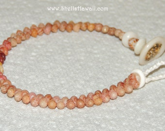 "7 1/2"" single strand Kahelelani shell bracelet/ShellsHawaii"