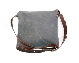 Charcoal Waxed Canvas Crossbody Bag