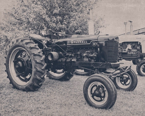 Farmall black and white tractor photography tractor photo for International harvester room decor