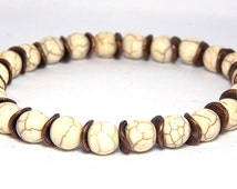 Mens Bracelets, Mens Beaded Bracelets, Man Bracelet, Mens White Bracelet, Mens Cream Bracelet, Mens Summer Bracelet, Gift for Boyfriend