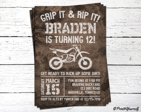 dirt bike invite      personalized printable by print4yourself