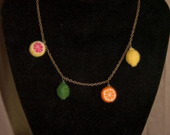 Citrus Twist Felted Charm Necklace