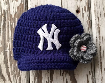 Baby Girl Navy & Gray New York Yankees Inspired Hat / Newborn Photo Prop / Sitter Session / Sizes Newborn - 9 Months **MADE TO ORDER**