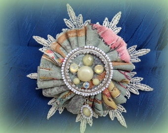 Vintage brooсh, boho, elegant,textil brooch