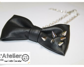 Bow tie Necklace - Leatherette bow shoker necklace