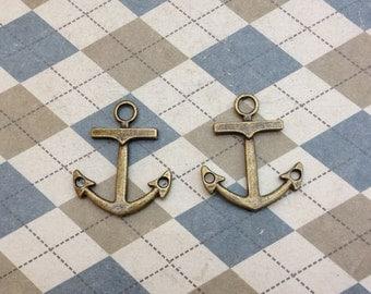 20 Pcs Antique Bronze Anchor Charm Nautical Charm Sailor Charm Pirate Vintage Style Pendant Charm 23mmx27mm