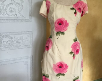 1950s wiggle large pink floral dress madmen style