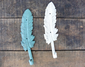Beautiful FEATHER Wall Hooks - Teal Aqua or White - Cast Iron Metal - Jewelry Holder - Bath Decor - Towel Bathroom - Shabby Chic - Nature