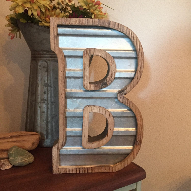 Large wood corrugated metal letter b wedding home for Big wooden letter b