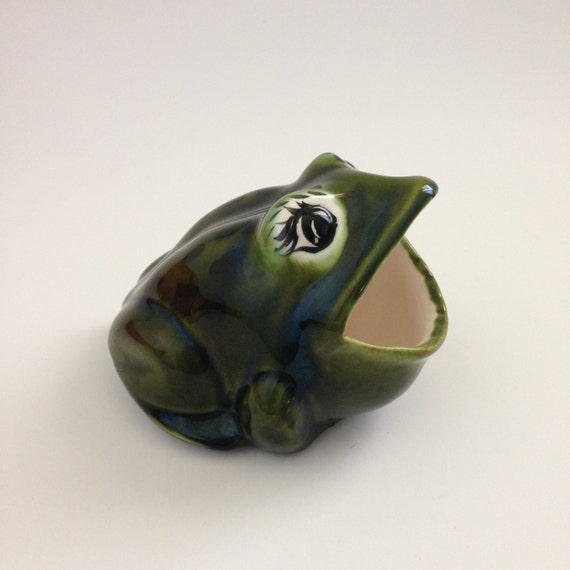 Vintage ceramic frog sponge holder dark green with eyelashes - Frog sponge holder kitchen sink ...