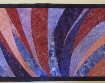 Art Quilt Wonky Purple Pink Curves, Wall Quilt, Wall Hanging, Abstract quilts