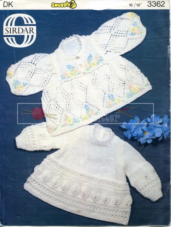 "Baby Matinee Coat & Angel Top 16-18"" DK Sirdar 3362 Vintage Knitting Pattern PDF instant download"