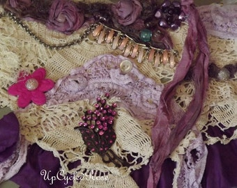 Lady Rose on Holiday Junk Gypsy Collar Up-cycled Tattered and Torn