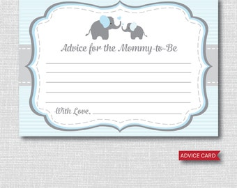 Blue Elephant Advice Card - Baby Advice Card - Boy Elephant Baby Shower - INSTANT DOWNLOAD