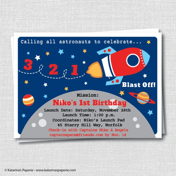 Rocket ship birthday party invitation outer space themed for Space themed stationery