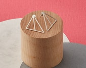 Solid silver geometric triangle earrings