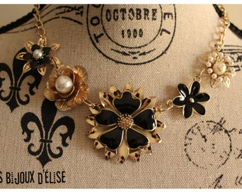Sale 60% OFF - Bridesmaid Gift Gold Necklace Black and Gold Flower Statement Will You Be my Bridesmaid