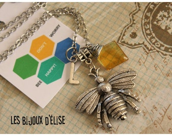 Personalized Bee Necklace  Bee Happy Necklace