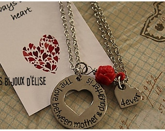 Sale - Set of 2 Necklaces The love between mother & daughter is.... 4ever Necklace - Mom and Daughter